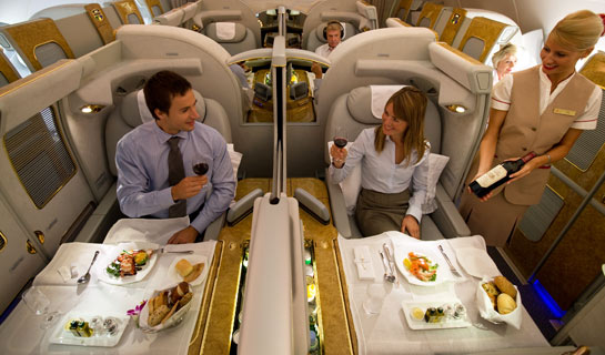 Viajando de primeira classe no A380