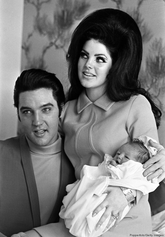 Tennessee, USA, 5th February 1968, Rock & Roll star Elvis Presley with his wife Priscilla proudly show their new born baby, 4 day old Lisa Marie, at the Baptist Hospital in Memphis